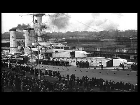 German Cruiser, SMS Emden, III, serving as a training ship, departs  Wilhelmshave...HD Stock Footage