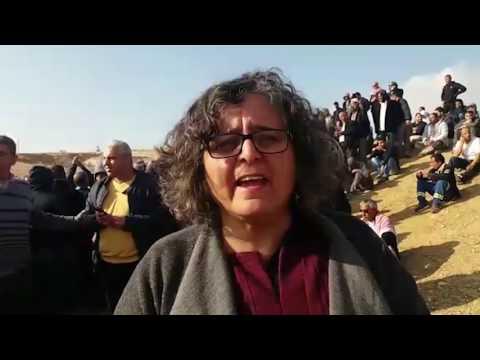 Interview with Joint List MK Aida Touma-Sliman at scene of demolitions at Umm al-Hiran