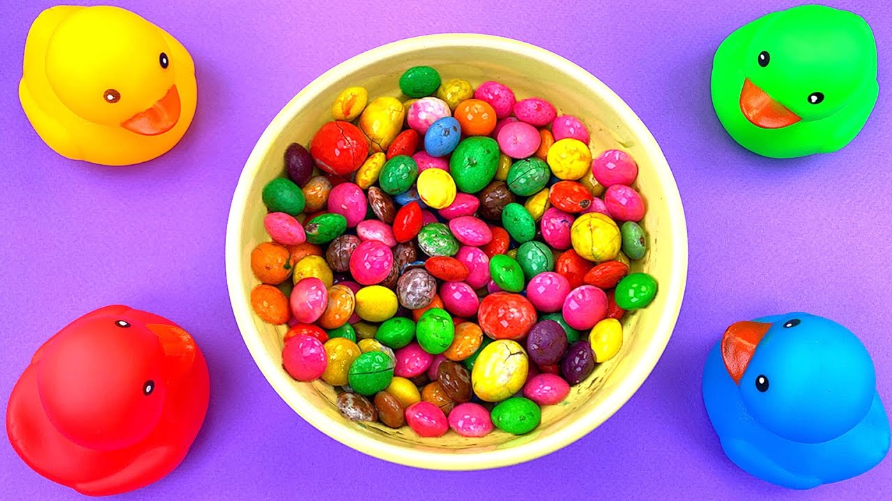 Satisfying Video | Mixing Spray Candy M&M's with Rainbow Ducks & Slime Coca Cola Cutting ASMR