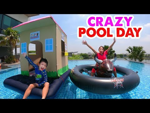 Crazy Pool Day - Floating Cardboard Box Fort and Inflatable Rodeo Bull