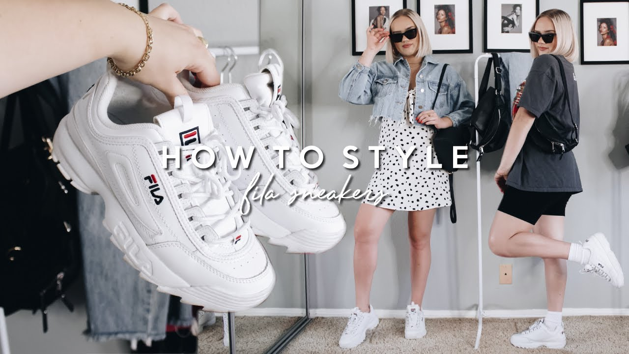 HOW TO STYLE THE FILA DISRUPTORS! BULKY SNEAKER OUTFIT IDEAS 2019 6