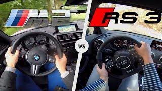 BMW M2 vs Audi RS3 | Acceleration Sound Exhaust POV Test Drive Launch Control