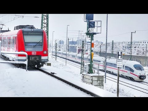 Winterwetter an der S-Bahnstation Hirschgarten in München mit..........