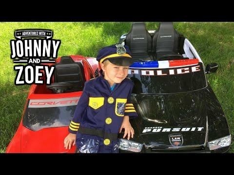 KID COP Episode: 2 Kid Trax Police Car vs POWER WHEELS Corvette a Power Wheels Parody Video