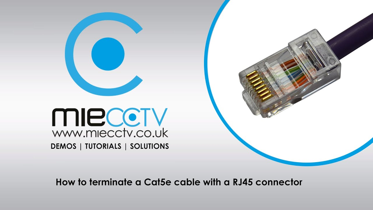 How To Terminate A Cat5e Cable With Rj45 Connector Youtube Cat 5 Wiring Diagram For Camera