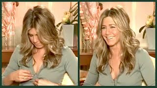 JENNIFER ANISTON still watches FRIENDS on TV... (and then her button pops...)