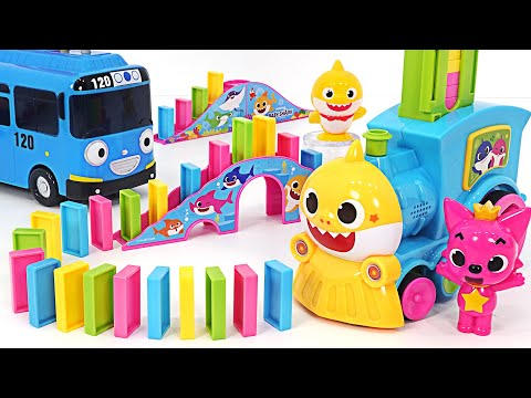 Pinkfong Baby Shark, Tayo Exciting Domino Stacking Game!   PinkyPopTOY  