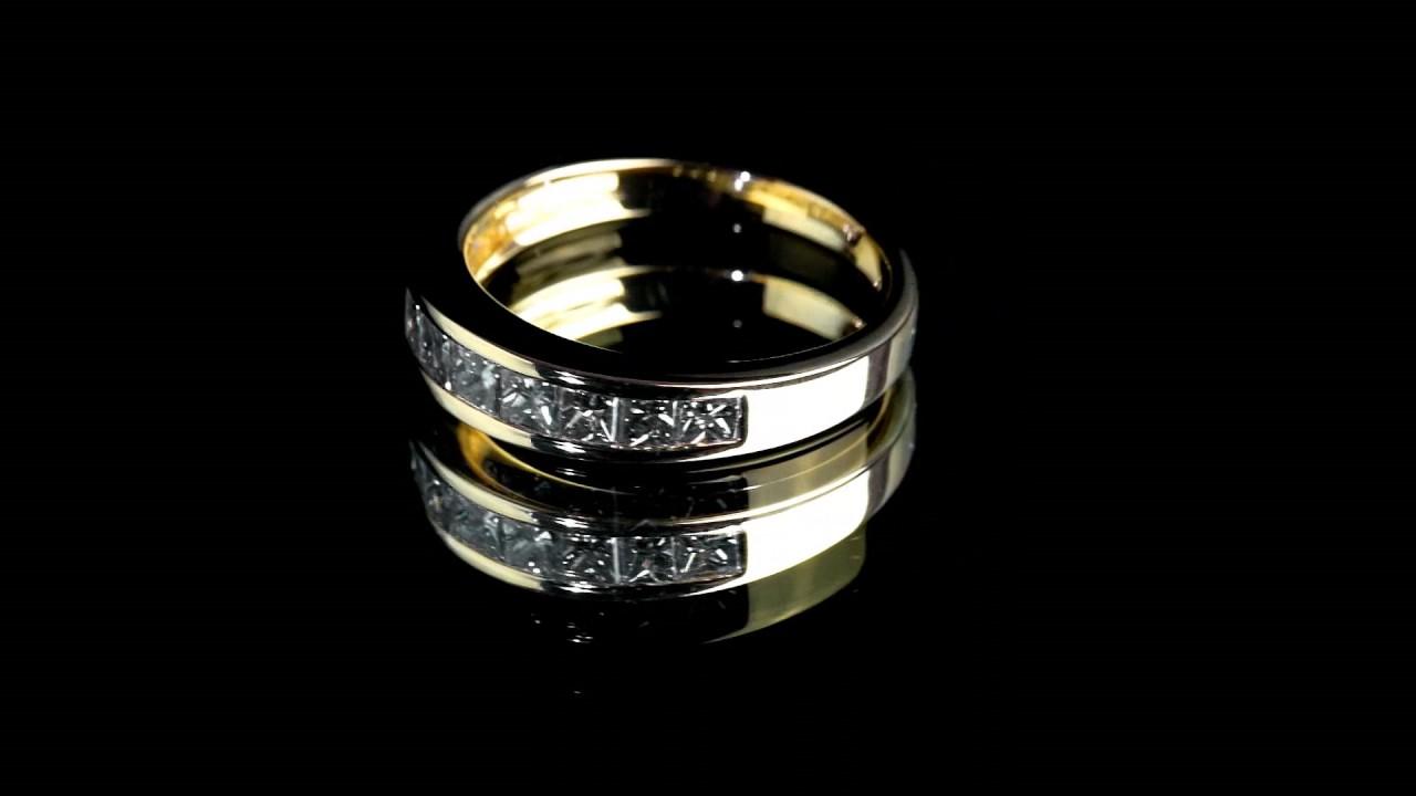 Золотое кольцо с дорожкой из фианитов - YouTube