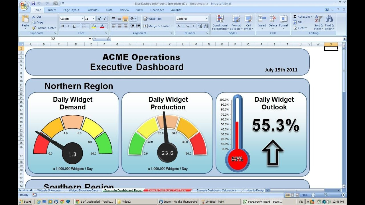 Making an excel dashboard tutorial 1 copying widgets for Safety dashboard template