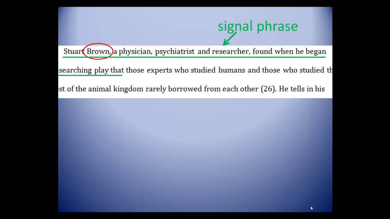Pt 4 Signal Phrases Into Direct Quotations And Citing