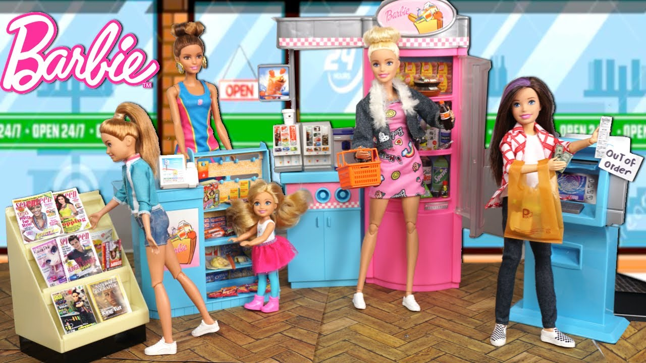 Barbie Dolls Grocery Store & Gas Station with Rement Miniatures for Dollhouse