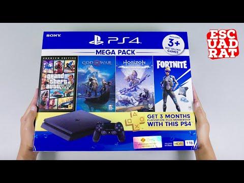 Unboxing PS4 Slim Megapack 2 Indonesia, Playstation 4 Slim 1TB CUH-2218B Jet Black HDR
