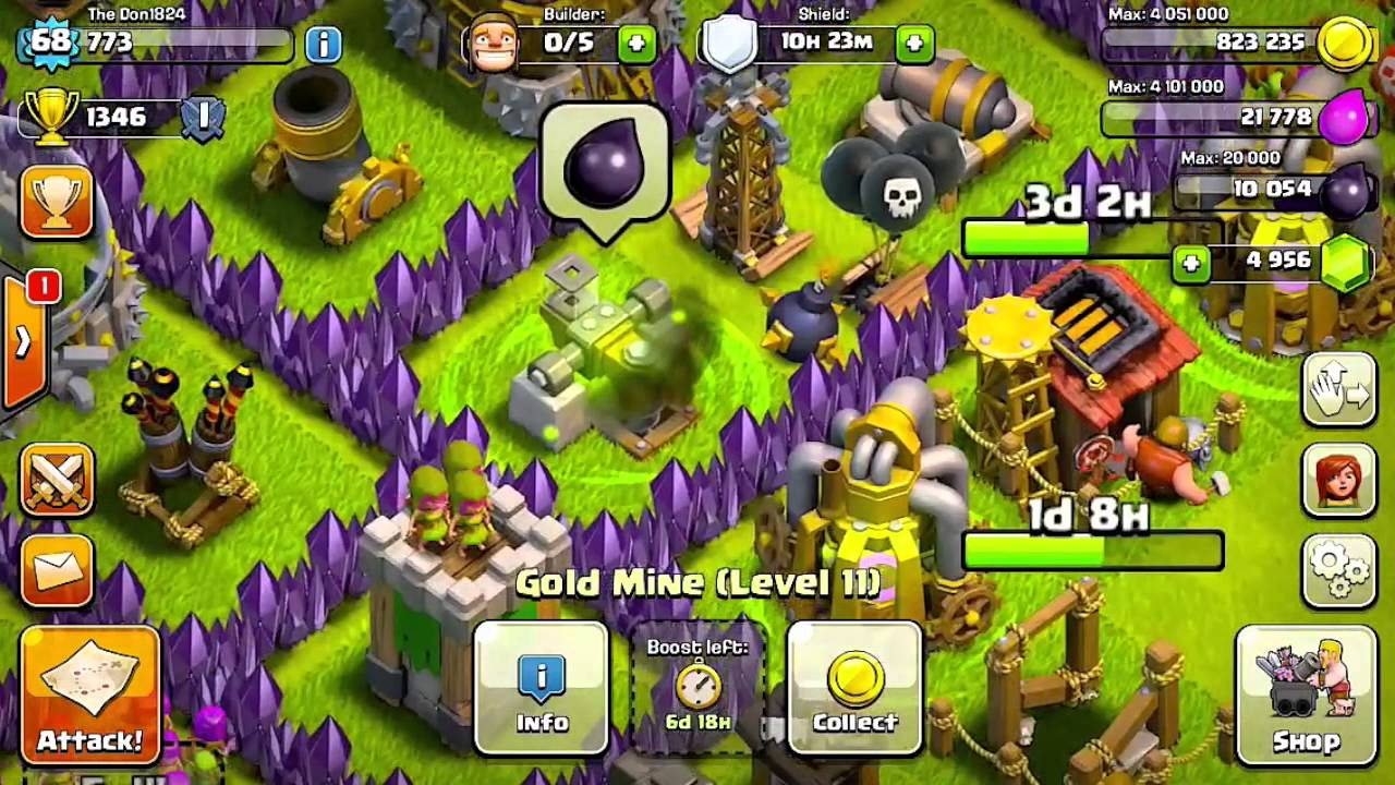Dark elixir drill boost - Boost for only 1 gem gold mine elixir collector dark elixir drill kissmybarch thedon1824