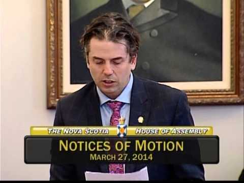 Joachim Stroink, MLA Halifax Chebucto: Notice of Motion March 27, 2014