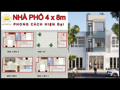 NHÀ PHỐ 4x8m - SV-NP01 -  nhà phố nhỏ ( mẫu nhà đẹp )