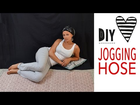 Jogginghose nähen ohne Schnittmuster / Einfache Hose aus Jersey