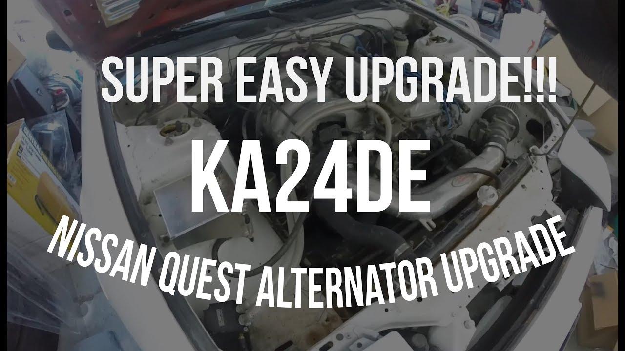 DIY 240sx KA24de 110 amp Quest Alternator Upgrade EASY! on