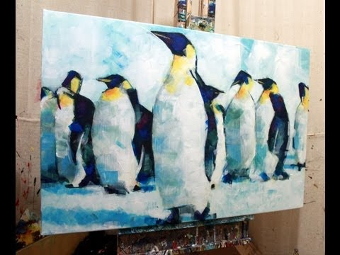 Acrylic Painting Penguin