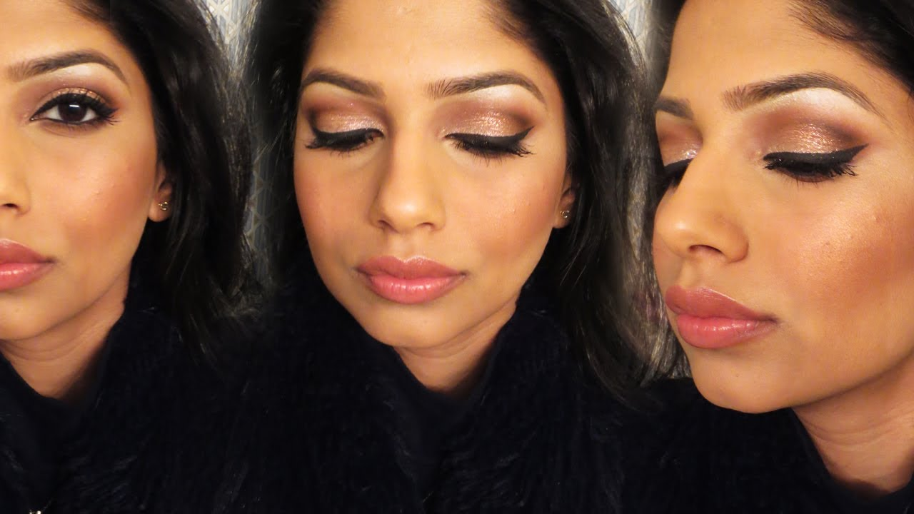 gold glitter party makeup for indianbrownolive skin
