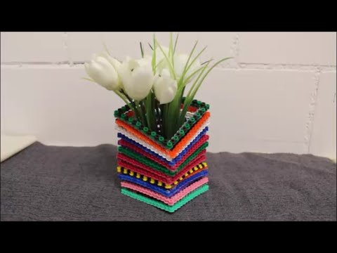 diy b gelperlen 3d vase hama ikea steckperlen blumenvase youtube. Black Bedroom Furniture Sets. Home Design Ideas