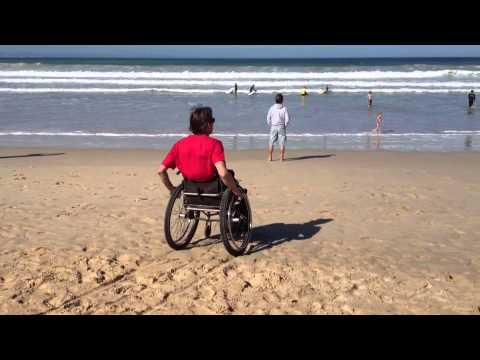 Wheelchair tracks on beach With Mathys Roets & Wheelchair tracks on beach With Mathys Roets - YouTube
