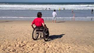 Wheelchair tracks on beach With Mathys Roets