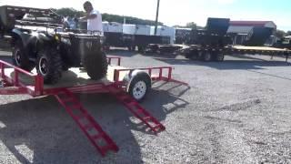 Loading ATV on PJ Utility Trailer @ DR Trailer Sales