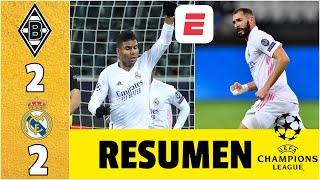 Borussia Monchengladbach 2-2 Real Madrid. Benzema y Casemiro RESCATAN a Zidane | Champions League