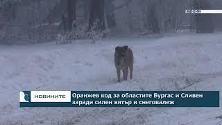 Оранжев код за областите Бургас и Сливен заради силен вятър и снеговалеж