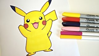 Coloring Pikachu! Color with Colorful cat!