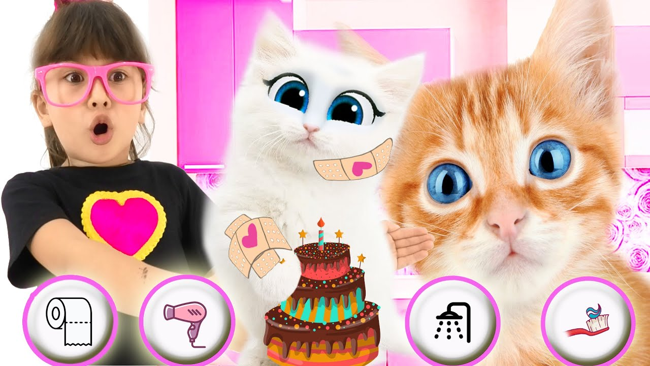 Angela like Abby Hatcher plays with cats | Funny kid Adventures with cat