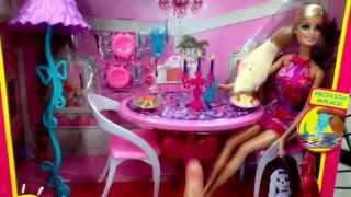 "Barbie ""glam Dining Room"" Dreamhouse Accessory Toy Set With Doll / Toy Review"