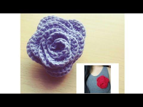 Crochet Flower Brooch Youtube