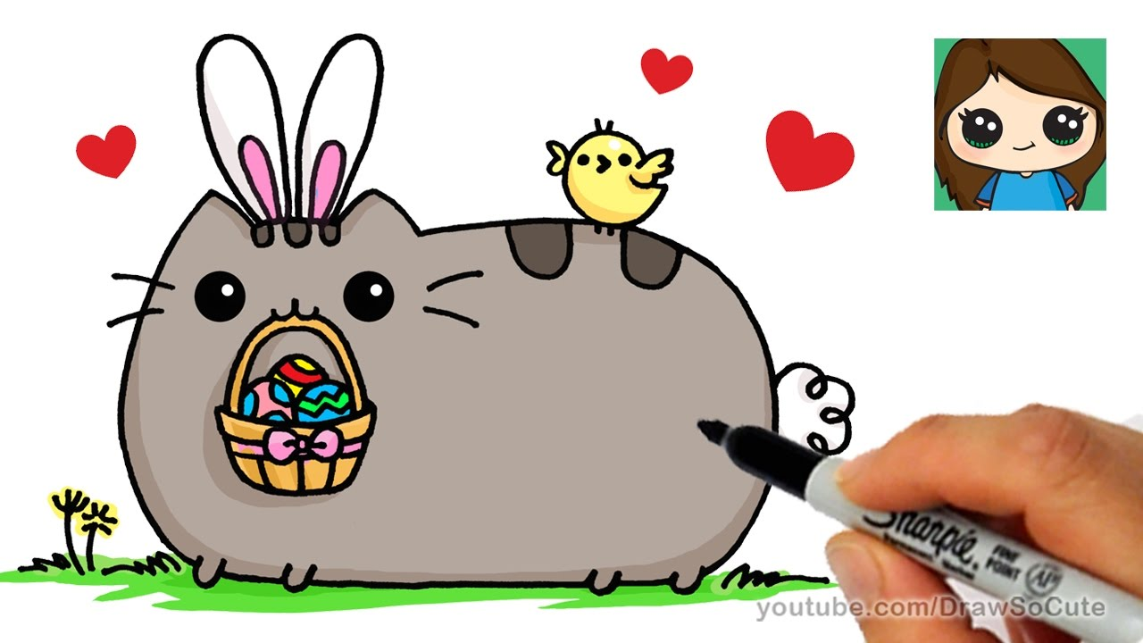 How To Draw Pusheen Easter Easy Youtube