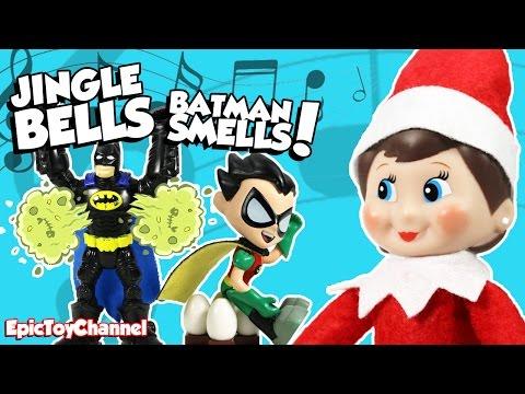 TEEN TITANS GO + Lego Batman + Elf on the Shelf Singing Jingle Bells BATMAN Smells Robin Laid an Egg