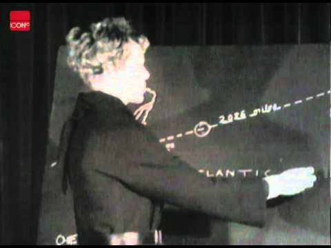 Amelia Earhart explaining her flight and the welcome she received