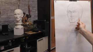 Академический рисунок карандашом гипсовой головы с натуры. Анатомия, обрубовка.