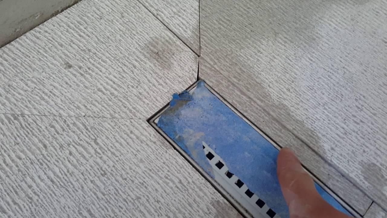 Shower linear drain tile installation tips - YouTube