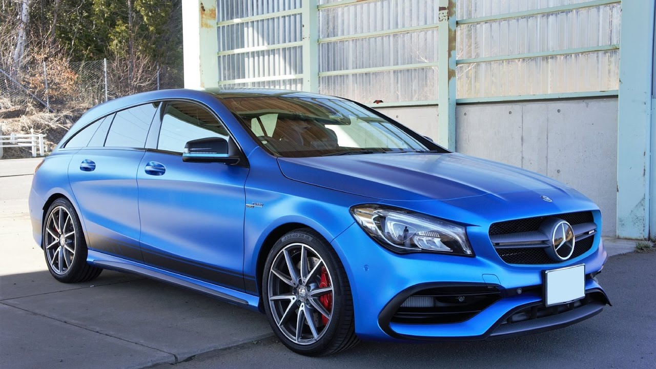 Cla 45 2019 >> Wrapping a Mercedes-AMG CLA45 Shooting Brake Satin Perfect Blue - YouTube