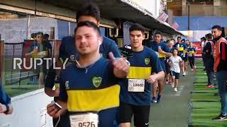 Argentina: Boca fans sport team colours in traditional 12km run