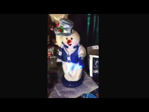 RARE Gemmy blue peppermint spinning snowman (FIXED)