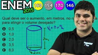 ENEM 2015 Matemática #11 - Volume do Cilindro e Comparação da Medida dos Raios de duas Cisternas