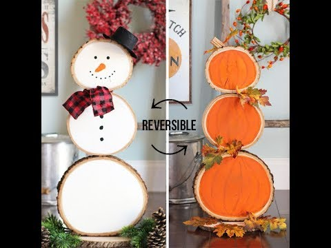 reversible wood slice snowman and pumpkins youtube