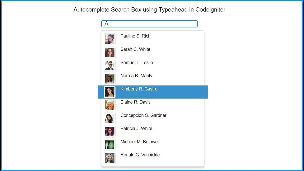 Autocomplete Search Box using Typeahead in Codeigniter | Webslesson