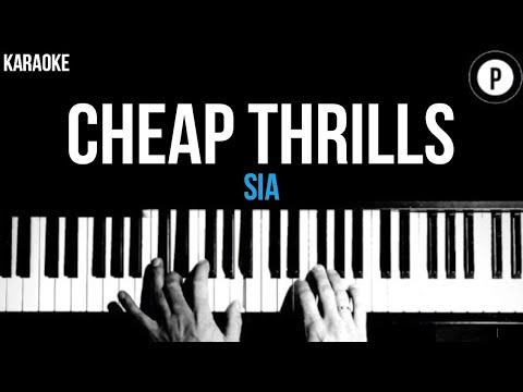 Sia - Cheap Thrills (Solo Version) Karaoke SLOWER Piano Acoustic Instrumental Cover Lyrics