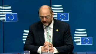 Special meeting of the European Council - EP press conference by Martin SCHULZ, EP President