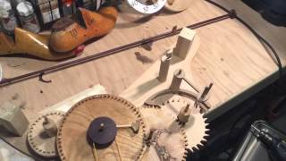 Making a wooden clock.