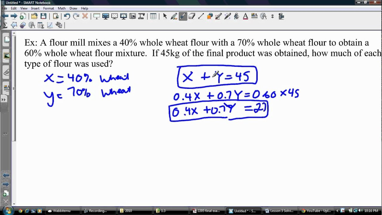 Solving a Linear System of Equations with Percents (Word Problem)