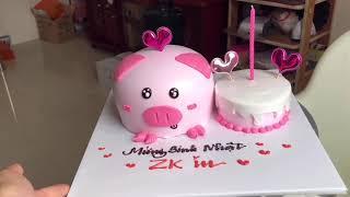Cách làm bánh kem heo con mini - how make a pig cake