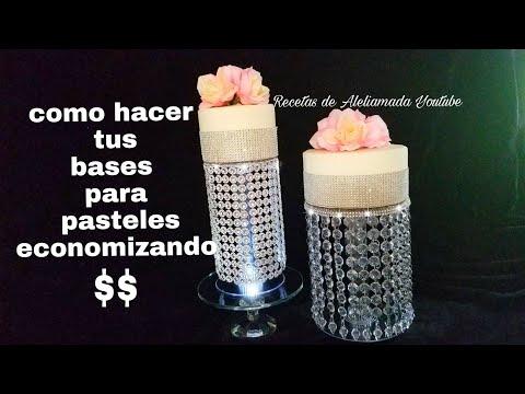 COMO HACER BASES PARA PASTELES - BASES DE ACRILICO DECORADAS .